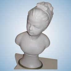 LOVELY Antique White Parian Porcelain Miniature Pedestal Bust of Young Girl!