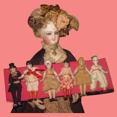 """SALE! Amazing Rare Factory Original Collection of 6 Antique Tiny 2 3/4"""" All Bisque German Hertwig Dolls on Card!"""