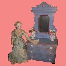 CHARMING Rare Antique Miniature Eastlake Victorian Painted Cottage Doll Dresser!