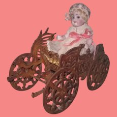 NOVELTY Rare Antique Miniature Carved Fretwork Carriage for ALL BISQUE Dolls!