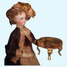 UNIQUE Antique Miniature Advertising Pin Cushion Stool for FASHION DOLL Display!