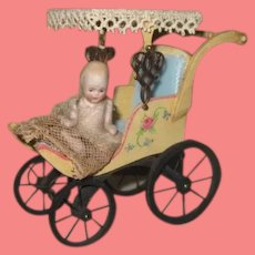 EXCEPTIONAL Vintage Artist Made Miniature Hand Painted Carriage with Antique Bisque Baby Doll!