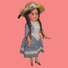 """CHARMING Antique Cabinet Size 10"""" AM 390 Painted Bisque Girl Doll!"""