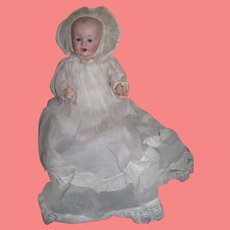 """ADORABLE 12"""" Cabinet Size Antique Franz Shmidt Bisque Head Character Baby Doll!"""