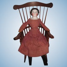 """BEAUTIFUL Large 24"""" Antique Unmarked EARLY China Head Doll~Great Antique Dress!"""