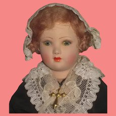 """SALE! Beautiful 1920's Factory Original 10"""" French Painted Pottery Souvenir Doll of Brussels!"""