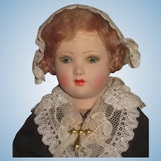 "SALE! Beautiful 1920's Factory Original 10"" French Painted Pottery Souvenir Doll of Brussels!"
