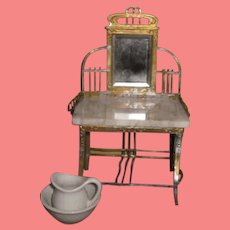 SALE! Fancy Antique Miniature Gilded Metal Dollhouse Toilette Table with MARBLE TOP!