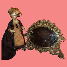 GORGEOUS Antique Fancy Beveled Oval Cherub Mirror for DOLL DISPLAY!