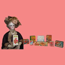 COLORFUL Set of 9 Vintage Miniature Lithograped Doll Kitchen/Grocery Item Boxes!