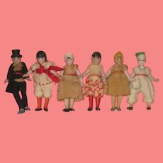 """INVENTORY SPECIAL! Amazing Rare Factory Original Collection of 6 Antique Tiny 2 3/4"""" All Bisque German Hertwig Dolls!"""