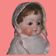"""INVENTORY SPECIAL ! Charming Antique 19"""" Early Paper Mache Doll with Brown SOULFUL EYES!"""