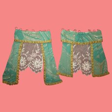 EXQUISiTE Rare Set of Antique Miniature Brocade & Lace Curtains for your FRENCH SCENE!
