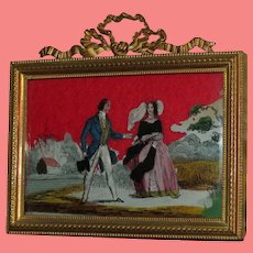 EXQUISITE Antique Miniature Figural Reverse Painting on Glass in Original ORNATE FRAME!