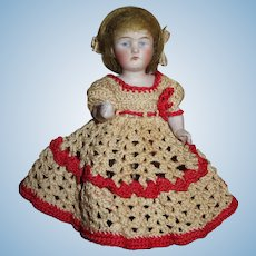 """SWEET 5 1/4"""" Antique German Kestner All Bisque Girl Doll with FANCY SHOES!"""