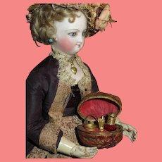 MAGNIFICENT Very Rare Antique Victorian Miniature Walnut Sewing Etui/Toilette Necessaire for FASHION DOLLS!