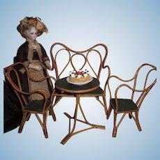 CHARMING Hard to Find Smaller Scale 4 Piece Antique German Wicker Salon Set with DESSERT!