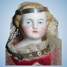 """EXQUISITE Rare Factory Original 6 1/2"""" Antique German Parian Dollhouse Doll in AMAZING COSTUME!"""