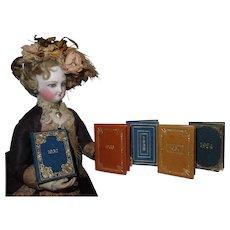 "FANCY Set of Five Vintage Miniature ""Keystone Calendar"" Books for FASHION DOLL Library!"