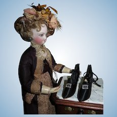 MINTY Original Vintage Black Satin Boudoir/Flapper Doll Shoes!
