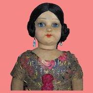 "AMAZING Rare Circa 1920's Large 23"" Factory Original Italian Cloth Walker Mystery Doll!"