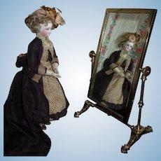 BEAUTIFUL Original Vintage Miniature Brass Cheval Mirror for FASHION DOLL Display!