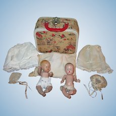 """PRECIOUS PAIR of 7"""" Vintage Composition Baby Dolls in Carrying Case!"""