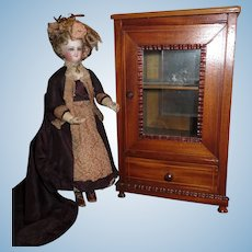 GORGEOUS Antique French Miniature Inlaid Doll Display Cabinet!