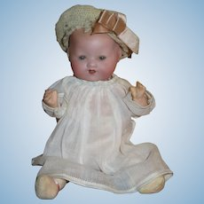 "TINY 8"" Cabinet Size Antique Bisque Head A.M. Dream Baby with COMPO BODY!"