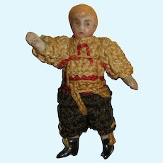 """FABULOUS Tiny 1 1/2"""" All Original Carl Horn All Bisque Boy Doll-----Great Costume!"""