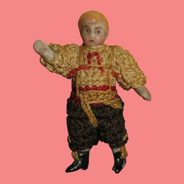 "FABULOUS Tiny 1 1/2"" All Original Carl Horn All Bisque Boy Doll-----Great Costume!"