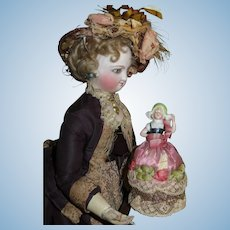 FABULOUS All Original Antique French Miniature Half Doll Pincushion!