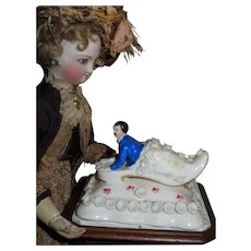 CHARMING Rare Antique Staffordshire Porcelain Figural Paperweight!