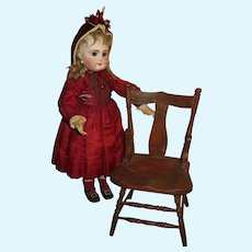 CHARMING Antique Miniature Carved Wooden Doll Chair!