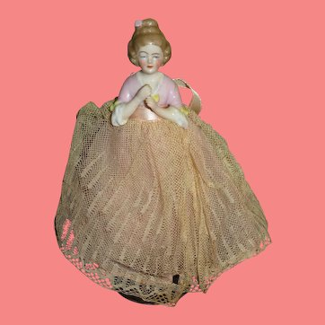 "FANCY Antique 6"" German Porcelain Half Doll Lady Dollhouse Doll!"