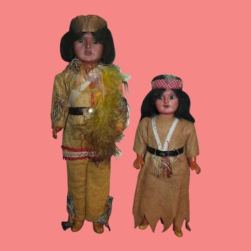 FACTORY ORIGINAL Pair of Antique German A.M. Bisque Head Indian Dolls!