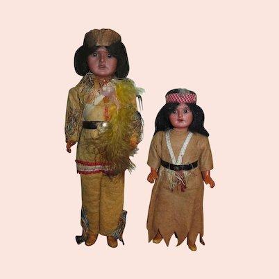 FACTORY ORIGINAL Pair of Antique German A.M. Bisque Head Indian Dolls!