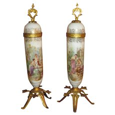 MAGNIFICENT Pair of Antique French Sevres Style Miniature Porcelain Urns for FASHION DOLLS!