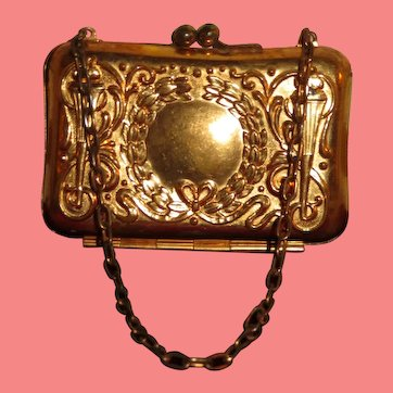 FANCY Antique Miniature Embossed Ormolu Brass Doll Purse!