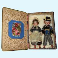 "FABULOUS Pair of Antique French 8"" S.F.B.J. Paris 60 Factory Original Regional Twin Dolls in Presentation Box!"