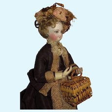 SUPERB Antique Miniature Woven Wicker/Straw Basket Purse for Fashion Dolls!