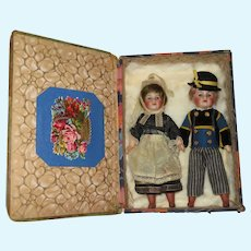 "SALE!  Fabulous Pair of Antique French 8"" S.F.B.J. Paris 60 Factory Original Regional Twin Dolls in Presentation Box!"
