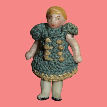 "SWEET Tiny 1 1/4"" Antique Carl Horn Little Girl All Bisque Doll in Crocheted Blue Dress!"