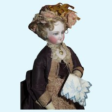VERY RARE Antique Authentic Original French Fashion Doll Embroidered Handkerchief!
