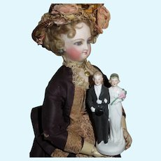 CHARMING TINY Antique German Bisque Hertwig Miniature Bride & Groom Cake Topper!