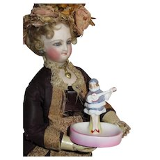 PRECIOUS Tiny Antique German Miniature Porcelain Pin Dish for FASHION DOLL Display!