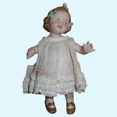 """PRECIOUS 7"""" Artist Made All Bisque """"Coquette"""" German Character Doll!"""