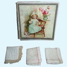 CHARMING Hard to Find Antique Miniature Doll Handkerchief Box with Original Hankies!