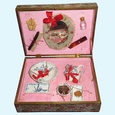 BEAUTIFUL Rare Fashion Doll Antique French Miniature Toilette Set in Original Presentation Box!