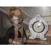 Sale~CHARMING German Miniature Handpainted Porcelain Mantel Clock!
